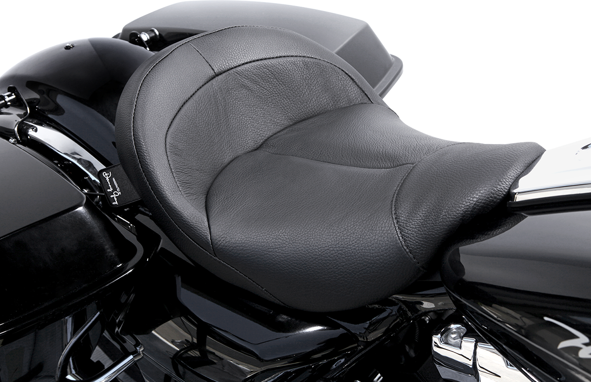 Danny Gray Leather Vinyl Black BigIST Solo Seat for 08-19 Harley Touring FLHX