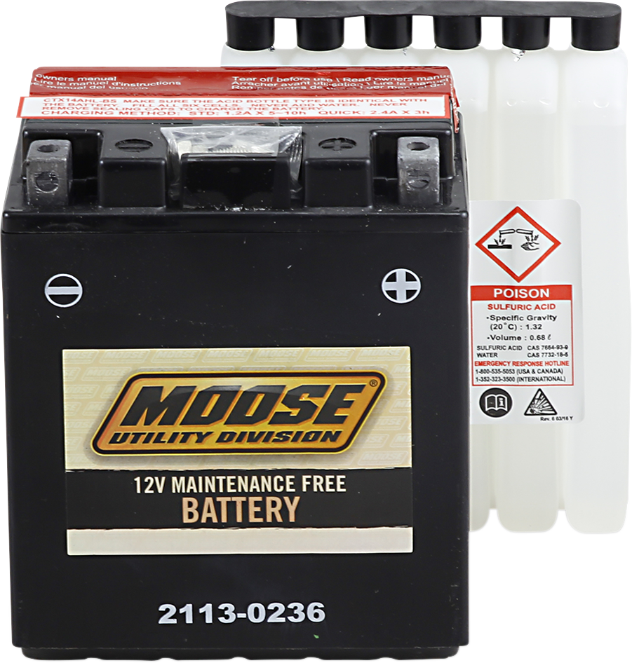 Moose YTX14AHL-BS Maintenance Free Battery for 98-15 Arctic Cat 250 300 4x4