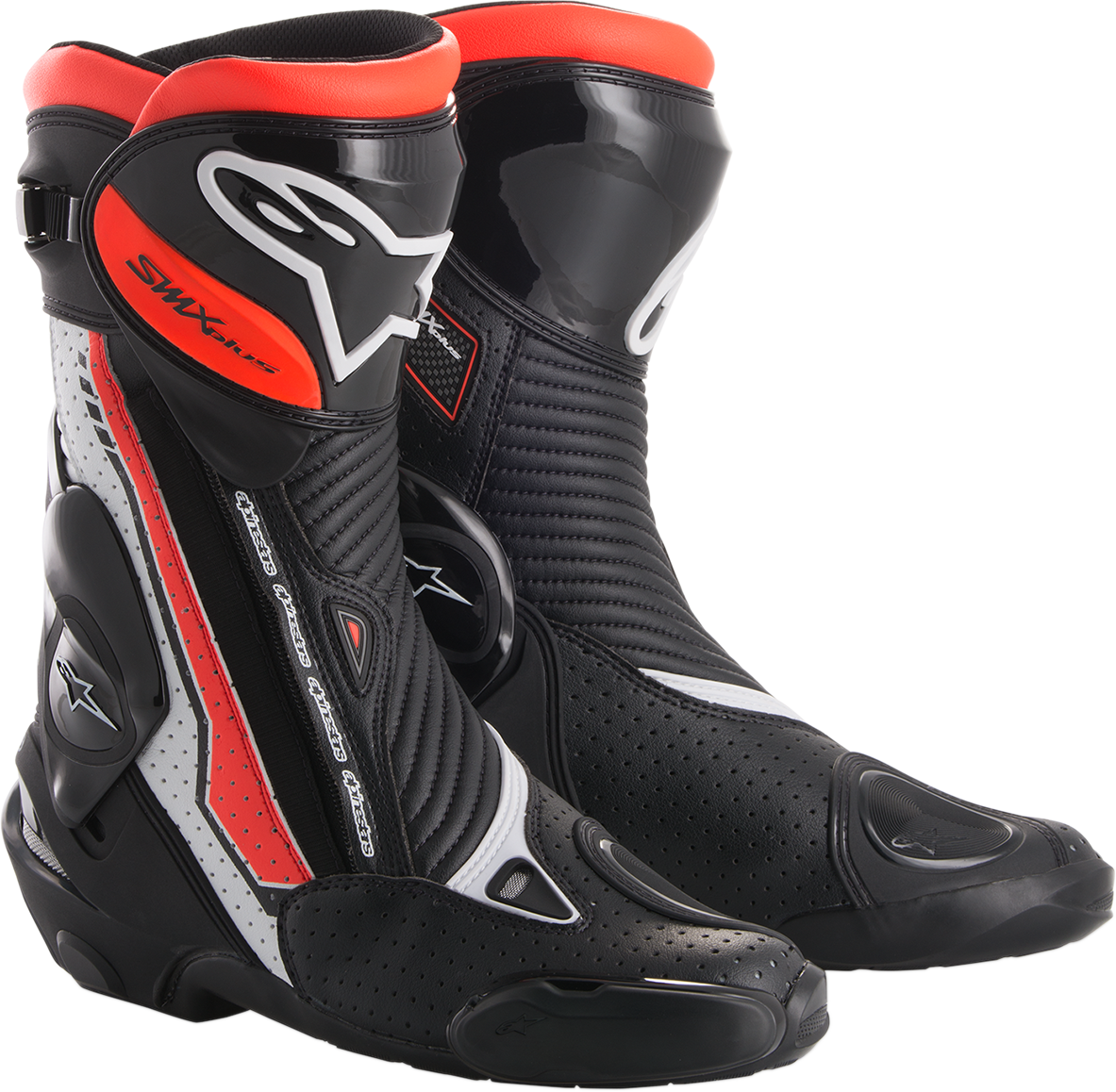 Mens Alpinestars White Black Red SMX Plus Motorcycle Riding Street Racing Boots