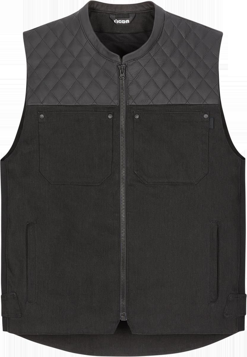 Icon Mens Chamonix Black Denim Motorcycle Club Riding Street Sport Racing Vest
