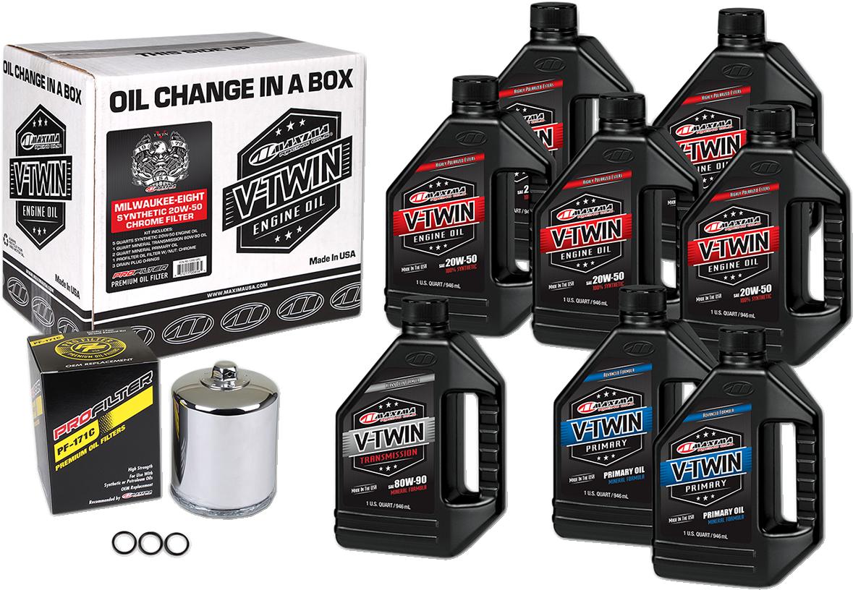 Maxima M8 Oil Change Kit & Chrome Filter for 17-20 Harley Touring Softail FLHX