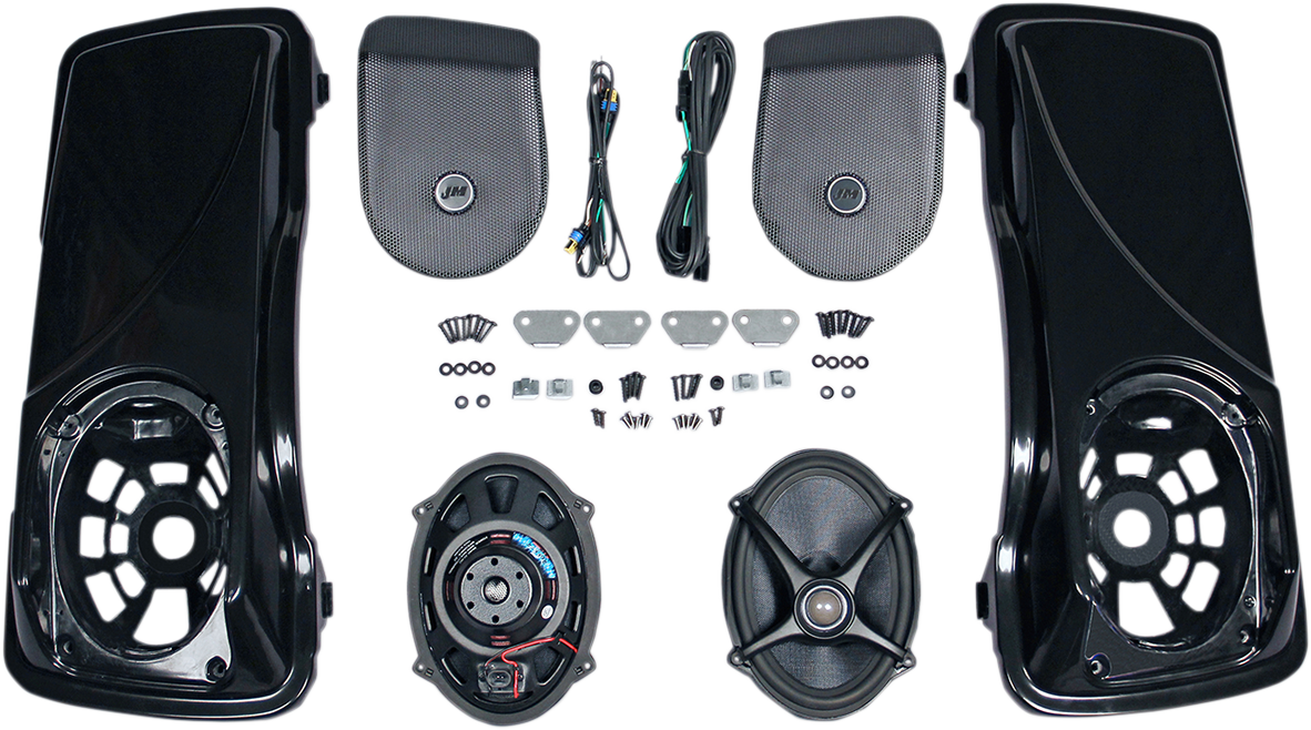 J&M Black Rokker 5x7 Saddlebag Speaker Lid Kit for 98-13 Harley Touring FLHX