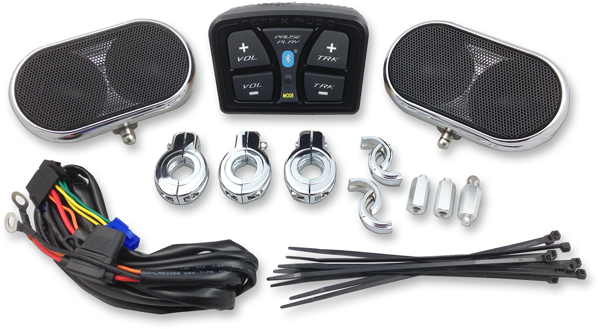 Metrix Black UTV Side by Side Offroad Universal Handlebar Speaker Audio Kit