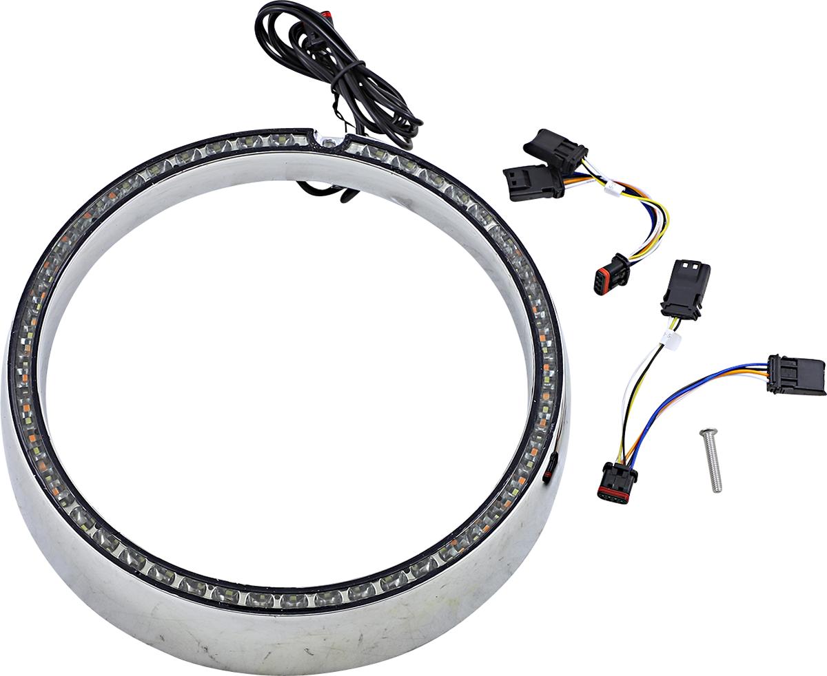 Custom Dynamics Chrome Sequential LED Headlight Trim 14-20 Harley Touring FLHX