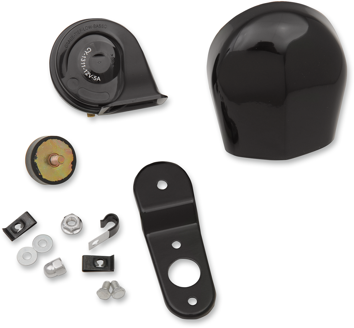 Drag Specialties Black 110db Electric Horn Kit For 84-19 Harley Dyna Touring XL