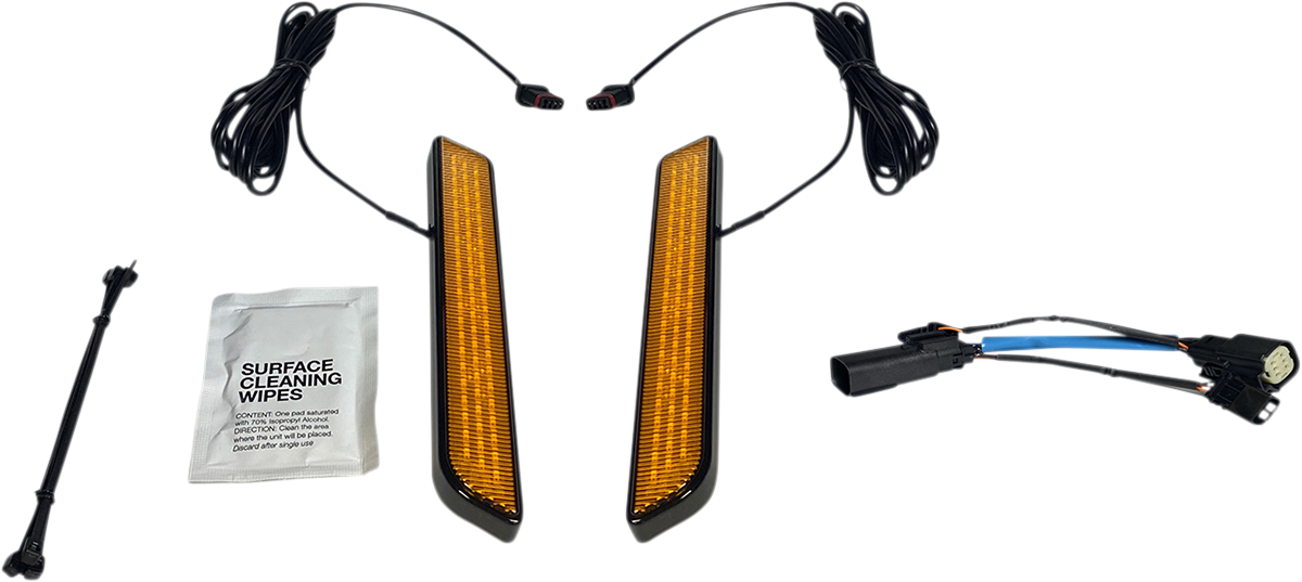 Custom Dynamics Black Amber LED Fork Reflector Lights 10-13 Harley Touring FLHX