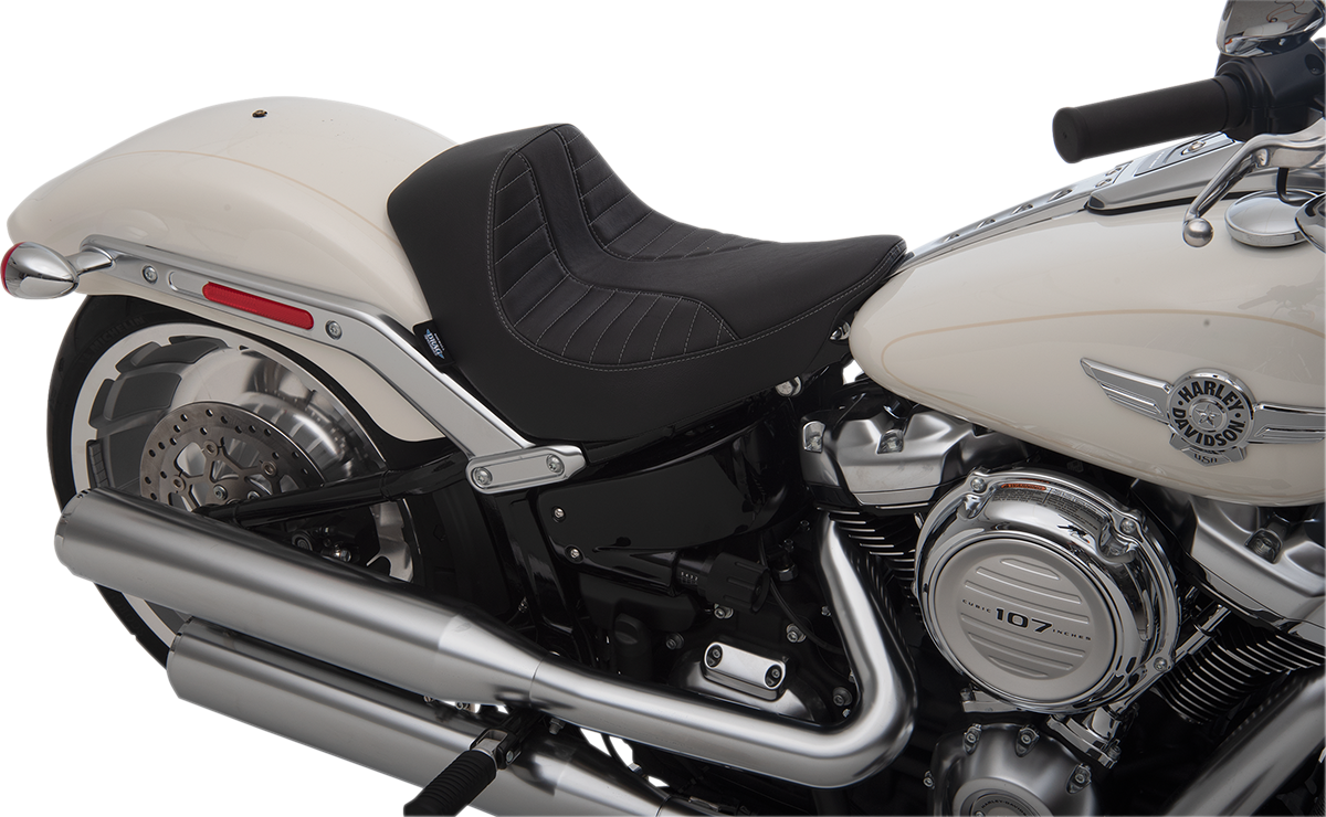 Drag Specialties Vinyl Silver Scorpion Solo Seat for 18-20 for Harley Softail