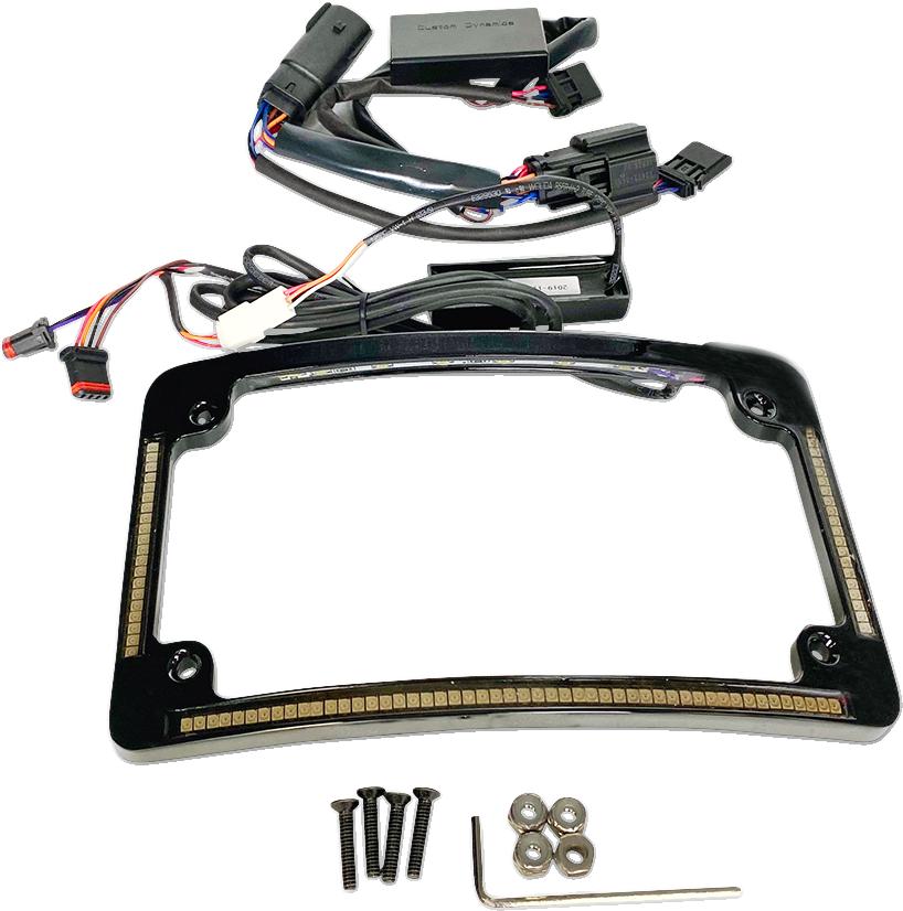 Custom Dynamics Black LED Radius Licence Plate Frame 14-20 Harley Touring FLHR