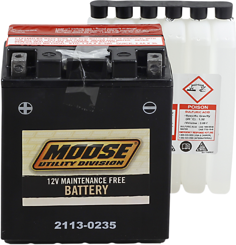 Moose YTX14AH-BS Maintenance Free Battery for 83-13 Honda Polaris Kawasaki