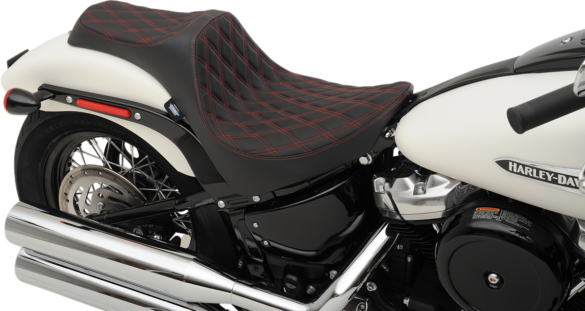 Drag Specialties Vinyl Black Red Predator Diamond Seat for 18-20 Harley FXBB