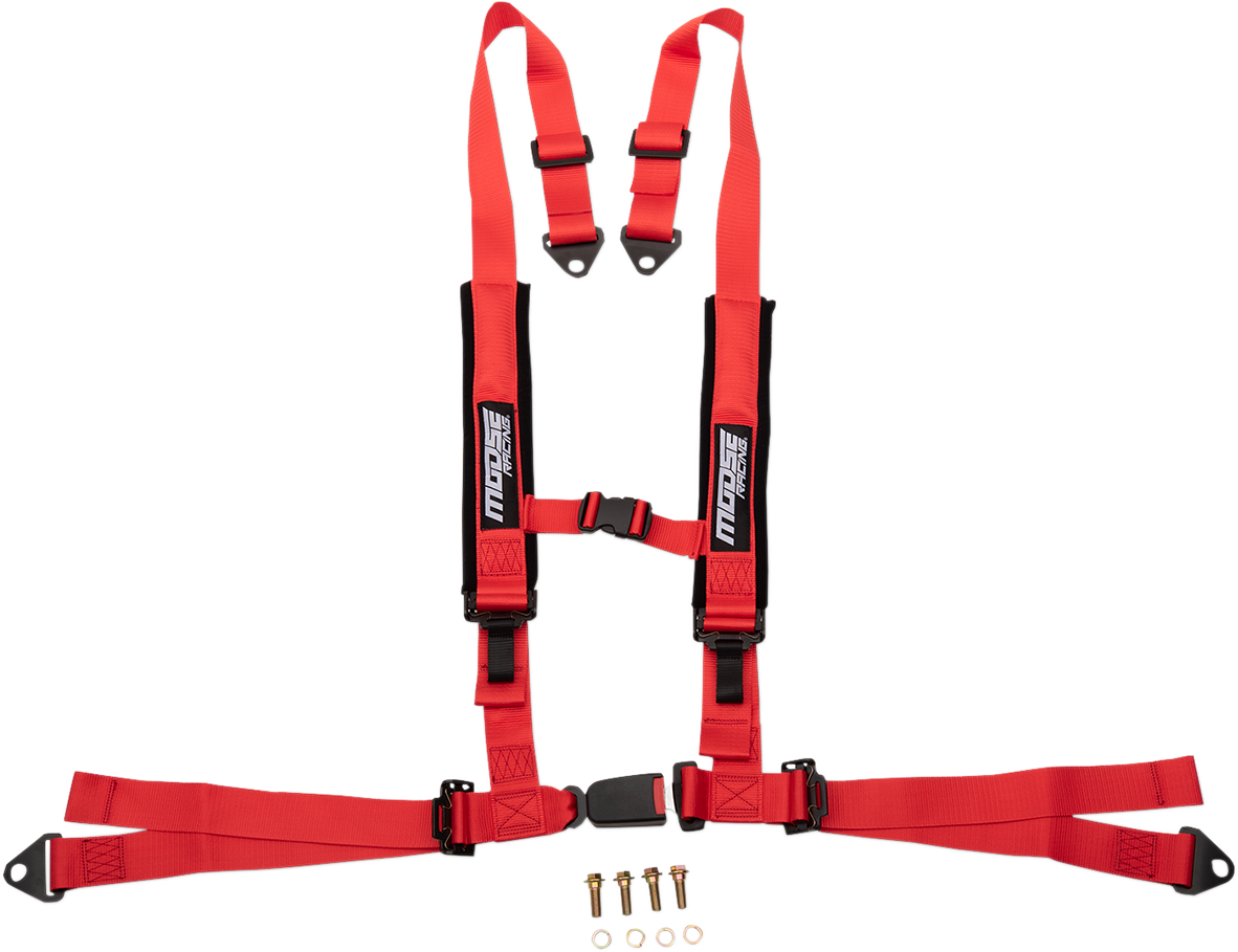 Moose Utility UTV Red 4 Point Seat belt Harness Restraint Safety System