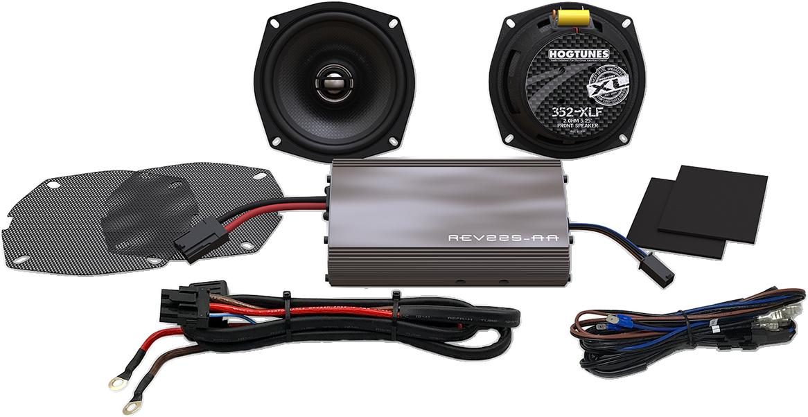 """Hogtunes Rev 225 Watt 5.25"""" Front Speaker Kit 98-13 Harley Touring FLHX FLHT"""