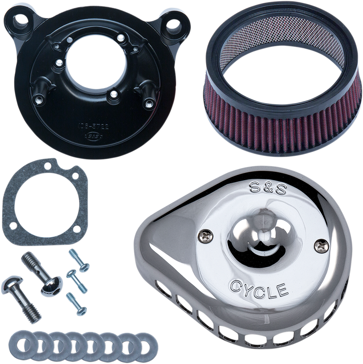 S&S Chrome Mini Teardrop Stealth Air Cleaner Kit for 01-17 Harley Dyna Touring