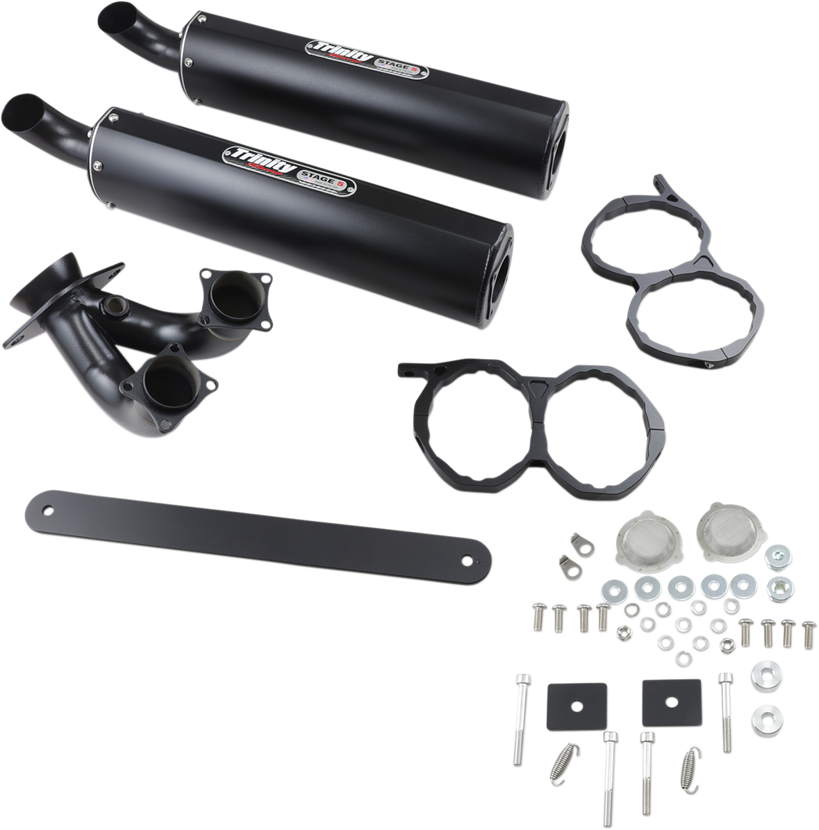 Trinity Racing Black Stage 5 Slip on Muffler for 15-19 Polaris RZR XP 1000 4x4