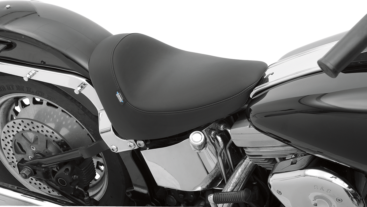 Details About Drag Specialties Black Leather Vinyl Solo Seat For 84 99 Harley Softail Fat Boy