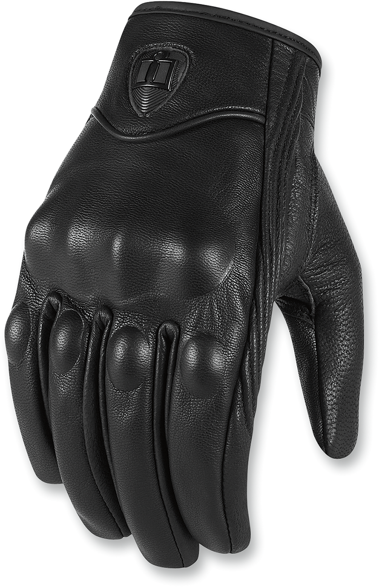 Icon Mens Black Leather Pursuit Motorcycle Riding Street Racing Riding Gloves