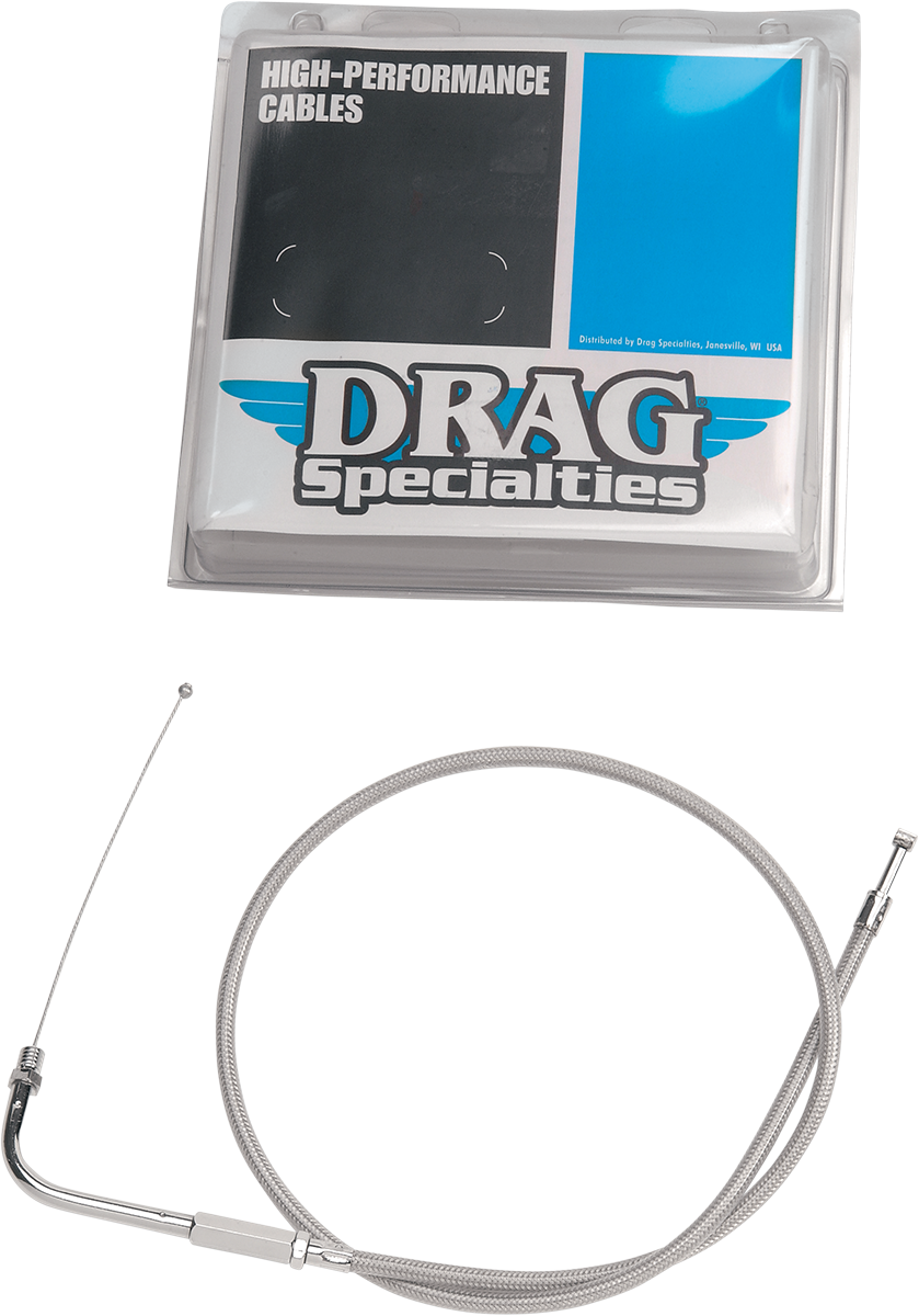 "Drag Specialties 28-1/2"" Braided Throttle Cable 06-19 Harley Dyna Sportster FXDF"