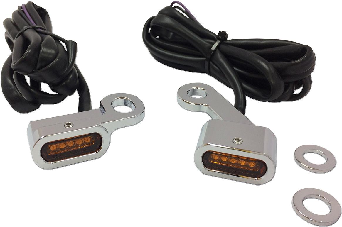 Drag Specialties Chrome LED Handlebar Marker Lights for 04-18 Harley Sportster