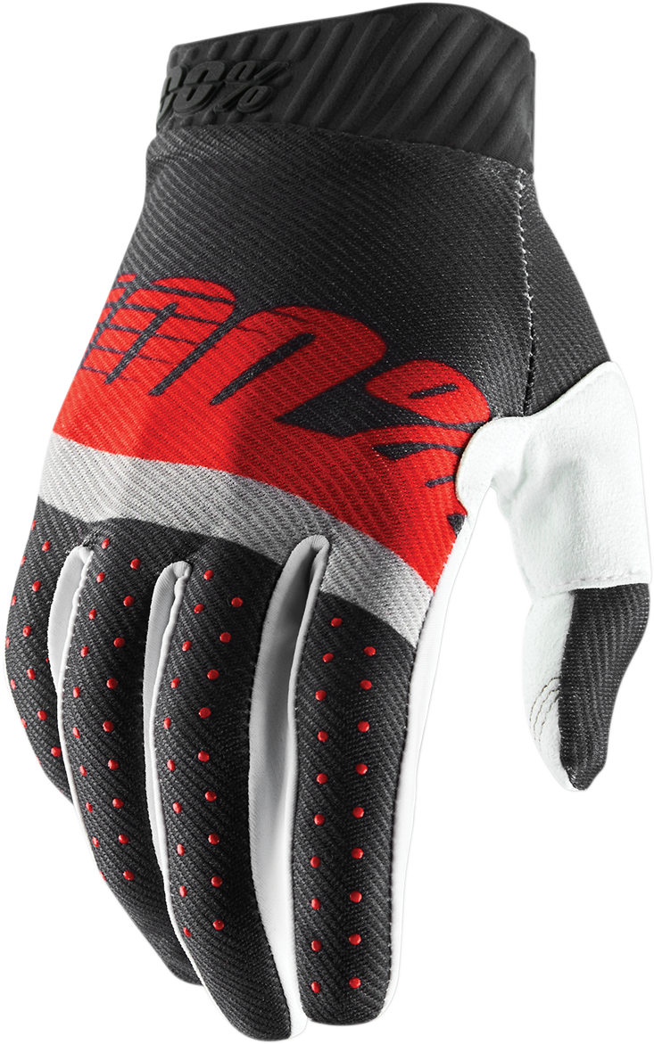100% Mens Ridefit Leather Textile Offroad Riding Dirt Bike Racing Slip On Gloves