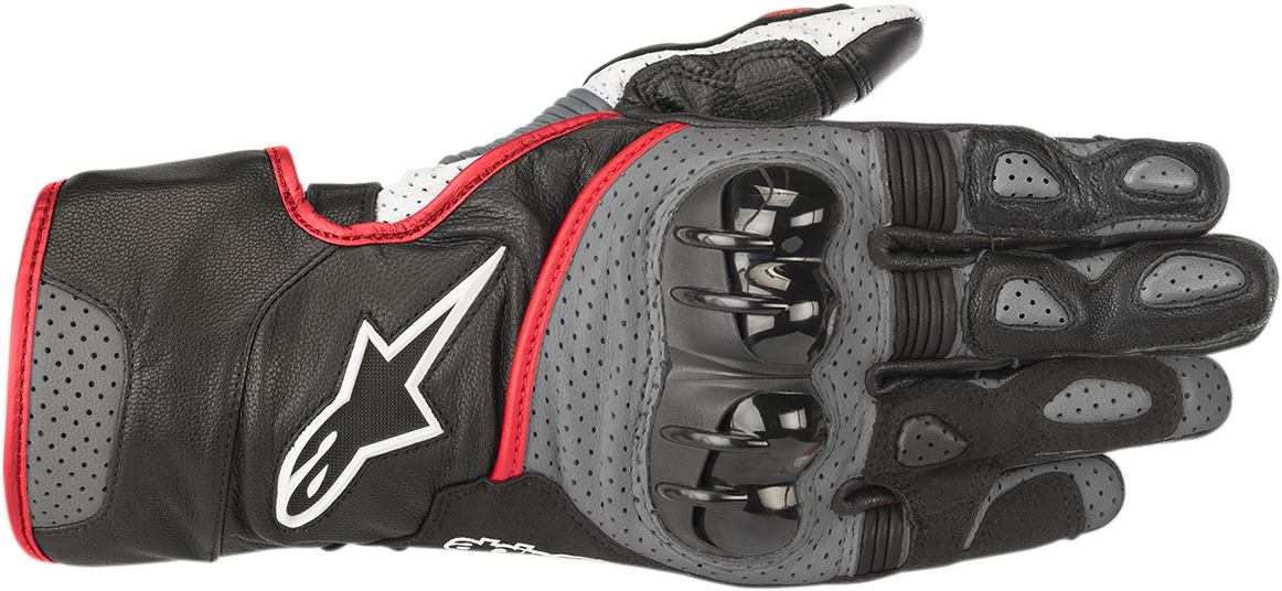 Alpinestars Black Gray Red Mens SP-2 Leather Motorcycle Racing Street Gloves