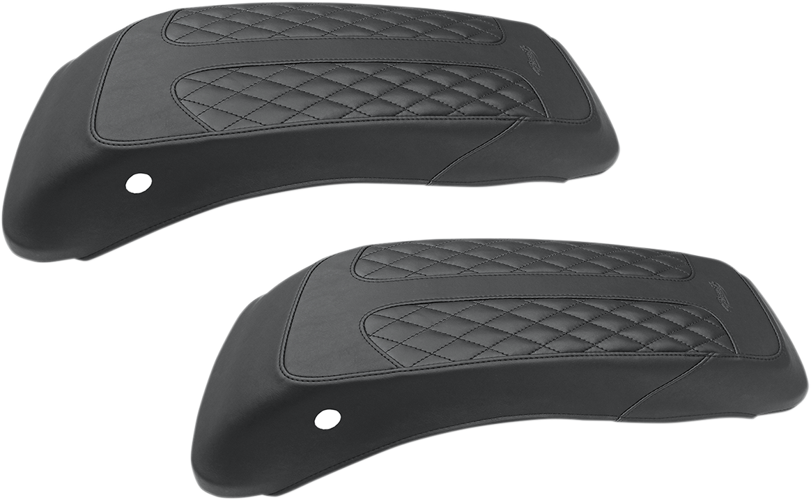 Mustang Black Diamond Pair Saddlebag Lid Covers for 14-18 Harley Tri Glide Ultra