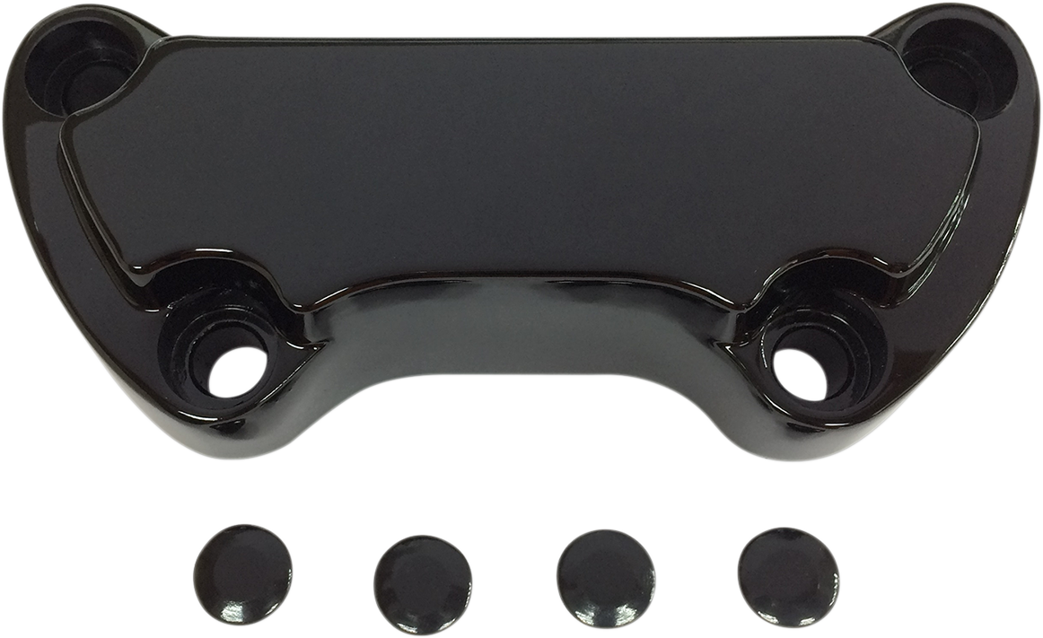 Drag Specialties Gloss Black Scalloped Handlebar Clamp for 74-17 Harley Davidson