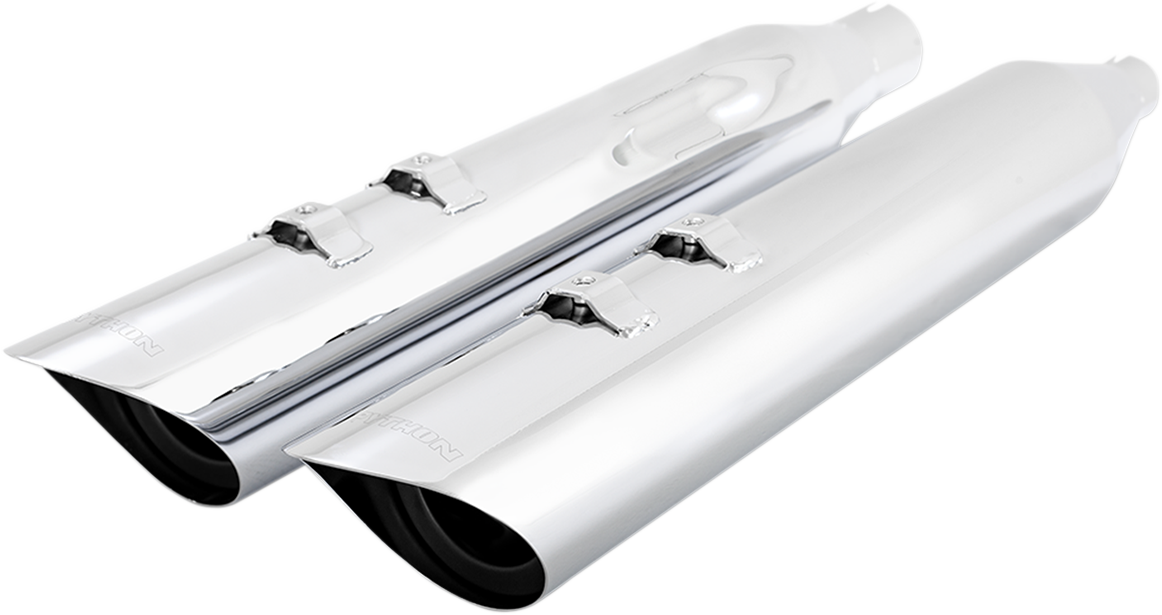 """Python Chrome 4-1/2"""" Scallop Slip on Motorcycle Mufflers 17-20 Harley Touring"""