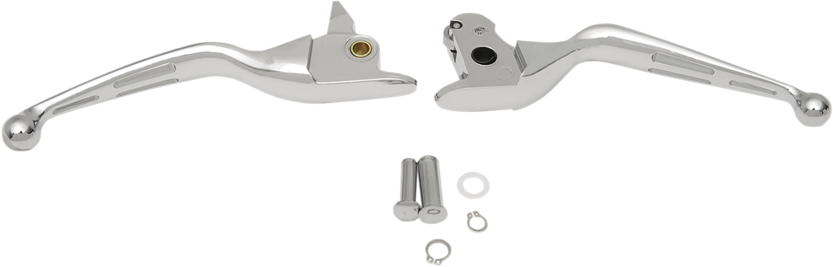 Drag Specialties Chrome Slotted Handlebar Lever Set for 14-16 Harley Touring