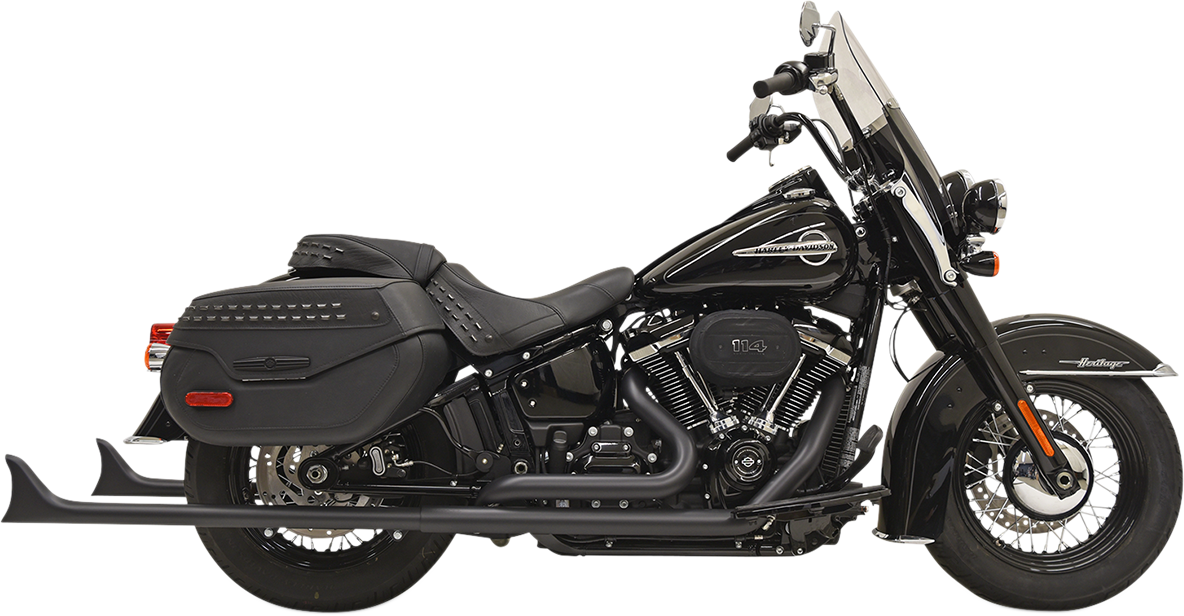 "Bassani 2-2 Black 36"" Fishtail 1-7/8 Full Exhaust 18-19 Harley Softail FLDE DLHC"