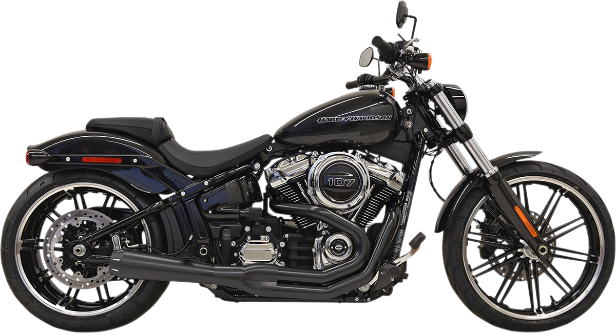 Bassani Black Road Rage 2-1 Megaphone Exhaust for 18-19 Harley Softail FXBR FXDR