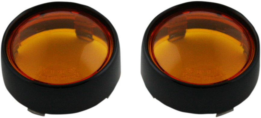 Custom Dynamics Black Amber Lens Probeam Bullet Turn Signal Bezels for Harley